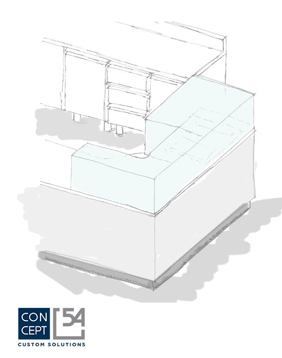 schizzo di una composizione di tavoli refrigerati concept